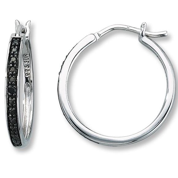 aa39d4e3f Kay Jewelers Jewelry - Kay Jewelers small black diamond hoop earrings